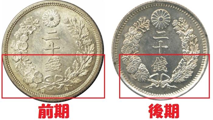 竜20銭銀貨明治8年前期と後期の図柄を比較